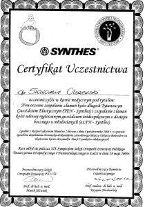Certyfikat uczestnictwa w Synthes Białystok
