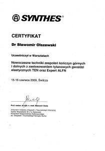 Certyfikat laryngologa Sławomir Olszewski z Białegostoku