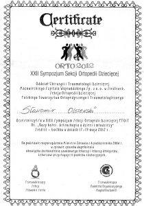 Certyfikat z sympozjum laryngologicznego Białystok