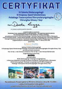 Certyfikat z Kazimierza laryngologa z Białegostoku