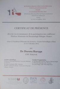 Certyfikat z francuskiej konferencji laryngologicznej Białystok