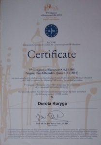 Certyfikat Praga 2015 - laryngolog Białystok