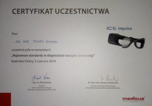 ICS certyfikat uczestnictwa laryngologicznego Białystok