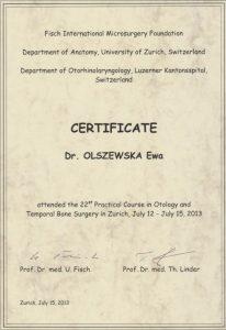 Francuskojęzyczny certyfikat ze szkolenia laryngologicznego Białystok