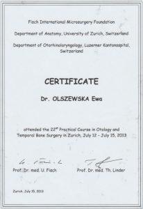 Certyfikat ze szkolenia laryngologicznego z Zurichu