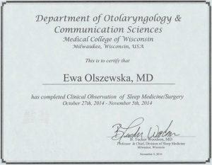 Amerykański certyfikat ze szkolenia z laryngologii
