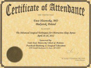 Certyfikat szkolenia z Francji dla laryngologa