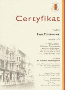 Certyfikat ze zjazdu otolaryngologów Białystok