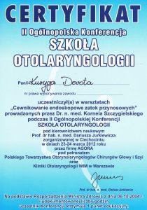 Certyfikat z cewnikowania zatok laryngologa Białystok