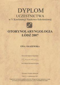 Dyplom uczestnictwa laryngolog Ewy Olszewskiej z Białegostoku