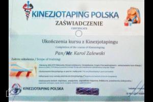 Kinezjotaping Polska - zaświadczenie fizykoterapeuty Białystok
