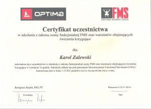 Certyfikat uczestnictwa Optima - fizykoterapia Białystok